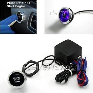 Universal Car Engine Start Blue LED Push Button Switch Ignition Starter Kit New