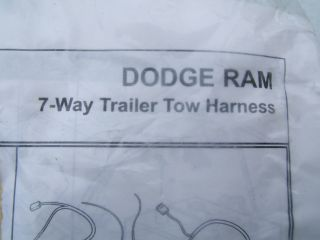 Mopar 82207253 New Dodge RAM Trailer Tow Wiring Harness