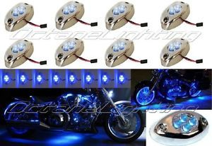 8PC Blue LED Chrome Modules Motorcycle Chopper Frame Neon Glow Lights Pods Kit