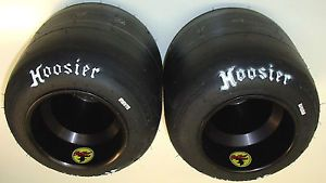 Pair of New Hoosier A35 Racing Go Kart Tires Used Outlaw Black Aluminum Wheels