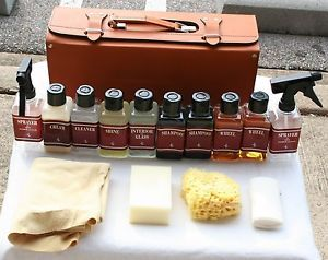 RARE Vintage Ferrari Car Care Kit w All Bottles in Leather Case WOW