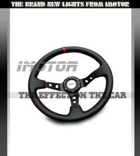 350mm Deep Dish Style PVC Plastic Racing Steering Wheel JDM Black Red Stitch