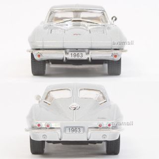 1963 Chevrolet Corvette Sting Ray Color Silver Diecast Car Toys Kinsmart