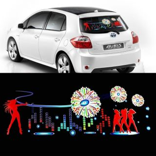 90x25 Car Firework Sticker Music Rhythm LED Flash Lamp Sound Activated Equalizer