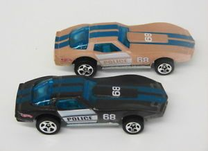 2 Corvette Police Cars Hot Wheels Color Changer Shifters
