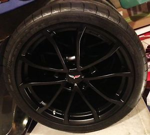 "2013 Corvette 427 Factory 19"" 20"" Cup Style Black Satin Wheels Tires"