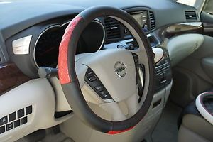 Circle Cool 57009 New Steering Wheel Cover Black Red Leather Fiat Wrap BMW Audi