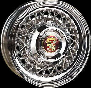 "Chrome Cadillac Wire Wheels 15"" Kelsey Hayes Style 48 Spoke"