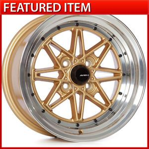 Avid 1 AV 07 15 15x8 4 100 25 Gold Wheels Rims Honda Civic Integra Scion XB