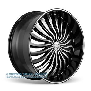 "26"" Borghini B24 Black Wheel and Tire Package Rims Cadillac Chevy Chevrolet"