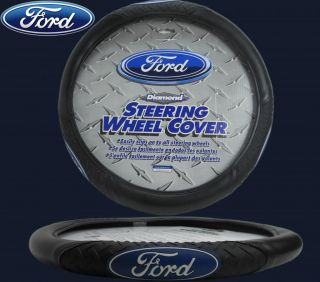 Ford Diamond Grip w Blue Ford Logo Steering Wheel Cover Synthetic Leather