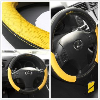 58012 14 15 38cm Steering Wheel Cover Black Yellow Leather Fiat BMW Audi SUV Car