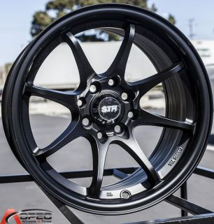 15x8 Str 518 Black 4x100 20 Wheel Fit Scion XB Integra MR2 Yaris E30 BMW 2002