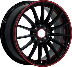 "17"" inch 4x100 4x4 5 Black Red Wheels Rims 4 Lug Mazda Honda Toyota Nissan"