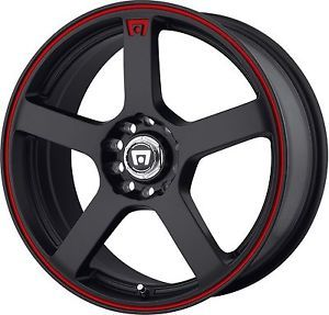 "18"" Staggered Black Red Motegi Wheels Rims Mustang G35 350Z Scion FRS Subaru BRZ"