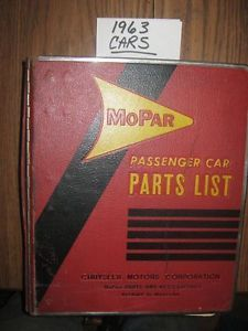 1963 Chrysler Dodge Plymouth Mopar Car Parts Catalog Book Manual Dealer 63