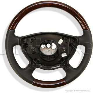 Mercedes Benz E Class W211 W463 Walnut Wood Black Leather Steering Wheel New