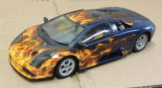 Lamborghini Murcielago 1 18 Custom Real Fire Flames Metallic Blue Hot Wheels