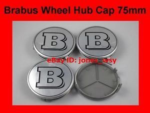 Mercedes Benz Silver Brabus Wheel Center Hub Caps 75mm
