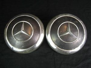 "2 Vintage 9 5 8"" Mercedes Benz Hub Caps Wheel Covers Chrome Black Man Cave"