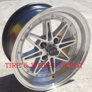 15 inch STR505SM Silver MA Rims and Tires 4x100 Accord Civic Fit Prelude Integra