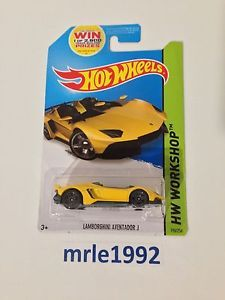 New in Package Hot Wheels Lamborghini Aventador J Yellow 2014