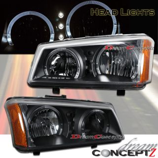 2003 2006 Chevy Silverado Avalanche Dual Rims Headlights LED Black Housing