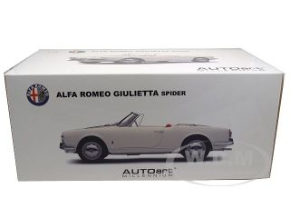 1957 Alfa Romeo Spider Giulietta 1300 White 1 18 Model Car by Autoart 70156