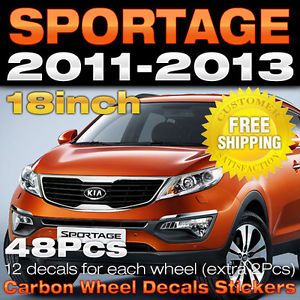 Kia 2011 2013 Sportage R Carbon Wheel Mask Decals Stickers 18inch 1set