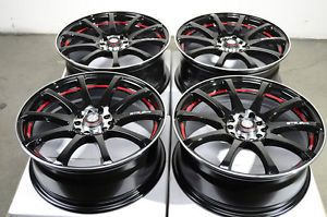 17 5x114 3 5x100 Black Wheels Lexus Prelude Cavalier Eclipse Red MR2 5 Lug Rims
