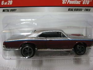 Hot Wheels Larry's Garage Real Riders 67 Pontiac GTO Maroon 6 of 20