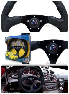 "14"" Universal Sport Racing Black Vinyl Steering Wheel"
