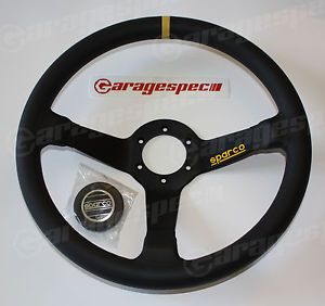 Sparco 345 Steering Wheel Black Leather 350mm Dia 63mm Dish