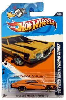 2012 Hot Wheels Muscle Mania Ford 117 1972 Ford Grand Torino Sport Yellow