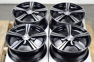 14 4x100 Black Rims Low Offset Escort Jetta Miata Civic Integra MR2 4 Lug Wheels