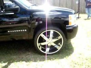 "30"" U2 55 Wheels Rims and Tire Package Chrome 6x139 Escalade Silverado F150 22"