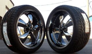"Black Chrome Mustang ® Bullitt Wheels 20x8 5 10"" 20 inch with General UHP Tires"