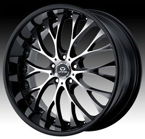 22 inch Staggered Lorenzo WL027 Black Wheels Rims 5x120 20 BMW 5 6 7 Series