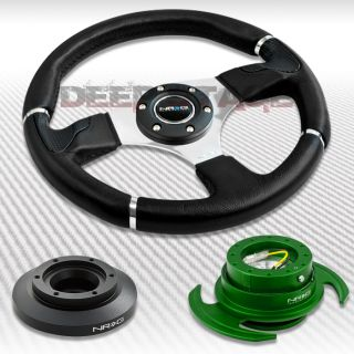 NRG Black Steering Wheel Hub Green Gen 3 0 Quick Release Kit 99 05 BMW E46 M3