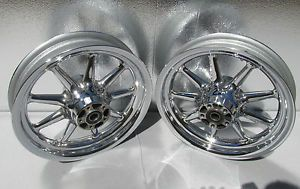 Harley Davidson Chrome 9 Spoke Cast Wheels Ultra Classic Electra Glide Rims