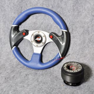 320mm Racing Steering Wheel Black Blue 6 Hole PVC Hub Adapter w JDM Horn
