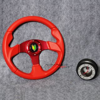 Red PVC Leather 6 Bolts w Horn Button 320mm Racing Steering Wheel Hub Adapter