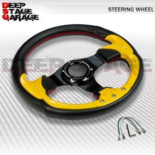 Universal 6 Bolt Aluminum Frame 320mm Racing Steering Wheel Black Yellow Accent
