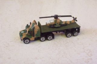 Semi Truck Cab N Flatbed Trailer w Helicopter Military Ground Micro Machines