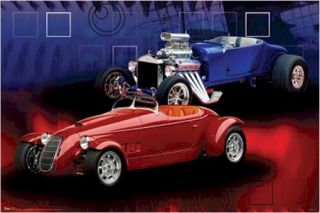 Poster Autos Hot Rods Red Blue Duo Car Engine