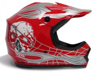 Youth Red Silver Skull Dirt Bike Motocross Helmet MX S