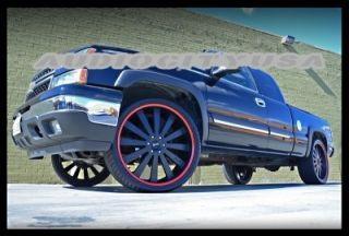 "26"" Givanna Santorini BK Red Wheels and Tires Rims for Chevy Tahoe Escalade"