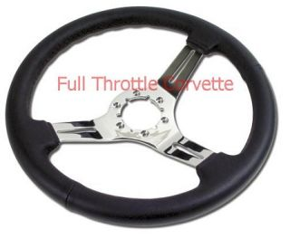 1968 1982 Corvette Leather Steering Wheel Chrome Spokes