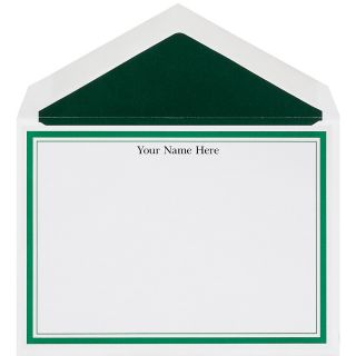 The Occasions Group Stationery Note Cards 4 12 x 6 14 W Flat Hunter Double Border White Matte Box Of 25