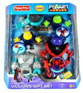 "Fisher Price Year 2007 Kohl's Exclusive Planet Heroes Series Action Figure VillainsGift Set with BLACK HOLE ""PROFESSOR DARKNESS"" and ASTEROID ""TINY"" Plus Comet ""Photon"", Comet ""Neutron"", Catapult, Boulders, Tradi"